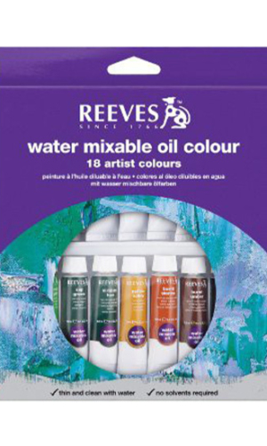 Reeves Paint Set: Water Mixable Oil Colours – 18's x 10ml