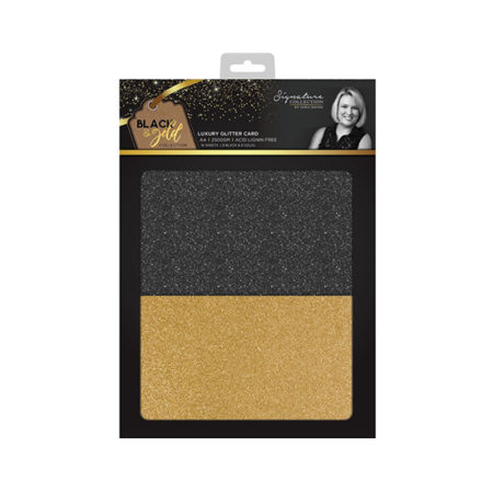 Luxury Cardstock Pad A4 Black and Gold Glitter Crafters Companion Sara Davies