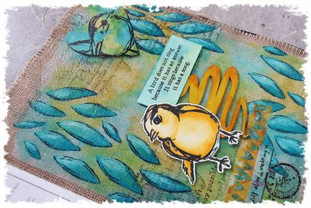 Colourful Techniques - Art Journal Series: 8 of 12 Dina Wakley Scribble Sticks Birds and Stencils
