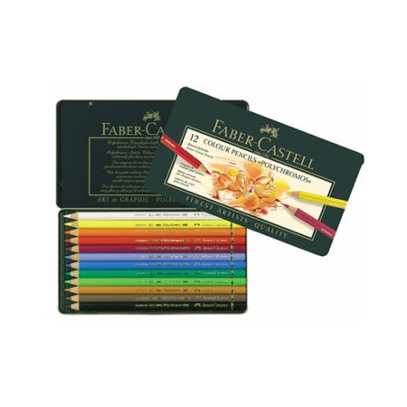Faber Castell Wood Cased Polychromos Coloured Pencils in Tin - 12's