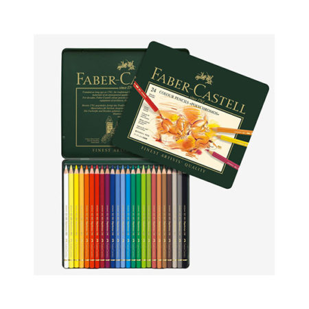 Faber Castell Wood Cased Polychromos Coloured Pencils in Tin - 24's